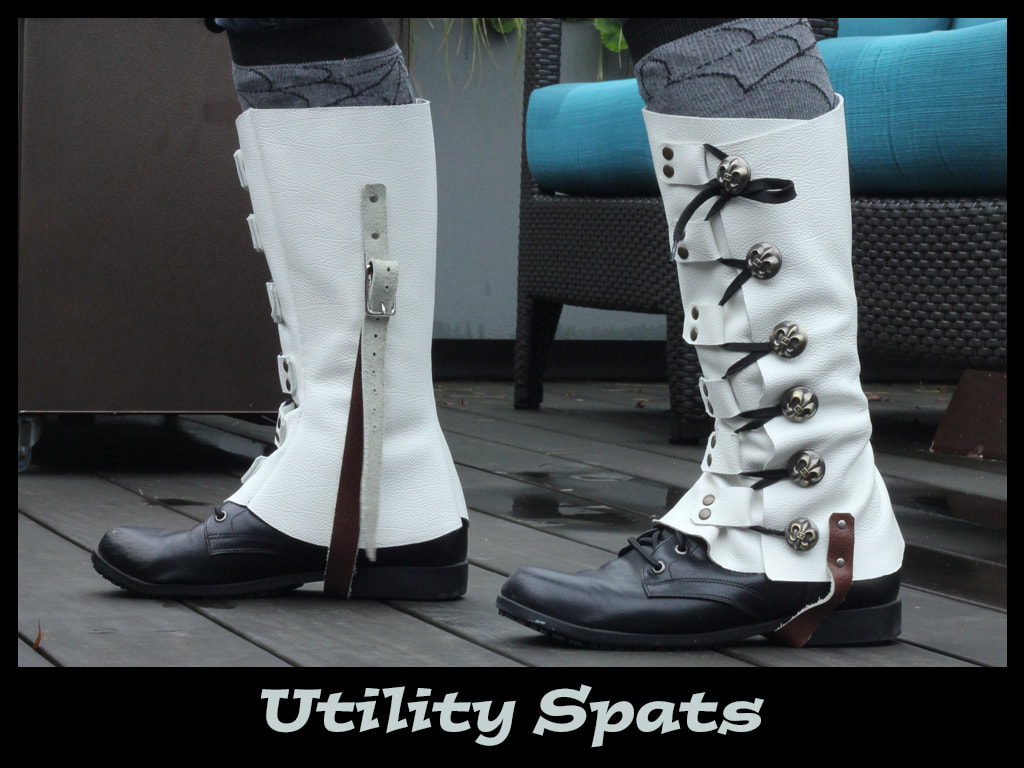 White leather utility spats with fleur de lis buttons.
